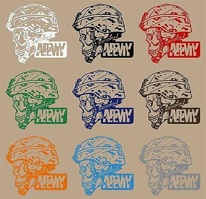 "Army Military Police Soldier Skull Camo Car Truck Window Vinyl Decal Sticker - 8"" Long Edge"