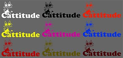 "Cat Cattitude Animal Funny Pet Car Truck Window Laptop Vinyl Decal Sticker - 12"" Long Edge"