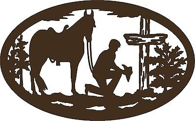 "Christian Cowboy Horse Cross Car Truck Window Laptop Sign Vinyl Decal Sticker - 12"" Long Edge"