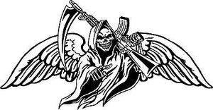 "Grim Reaper Gun Scythe Wings Skull Monster Car Truck Window Vinyl Decal Sticker - 12"" Long Edge"