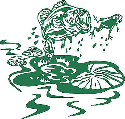 "Fish Frog Lily Pad Bass Car Boat Truck Laptop Window Vinyl Decal Sticker - 7"" Long Edge"