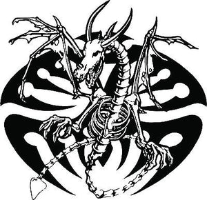 "Dragon Tribal Skeleton Creature Car Truck Window Laptop Vinyl Decal Sticker - 9"" long edge"