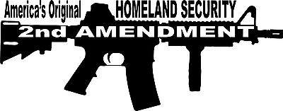 "2nd Amendment Rifle Machine Gun Car Truck Window Wall Laptop Vinyl Decal Sticker - 16"" Long Edge"