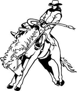 "Bronc Cowboy Rodeo Horse Western Car Truck Window Laptop Vinyl Decal Sticker - 9"" long edge"
