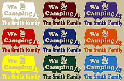 Camping RV Camper Tag Along Travel Trailer Custom Window Vinyl Decal Sticker - 8""