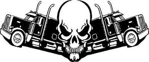"Skull Trucker 18 Wheeler Truck Driver Road Car Boat Window Vinyl Decal Sticker - 18"" x 8"""