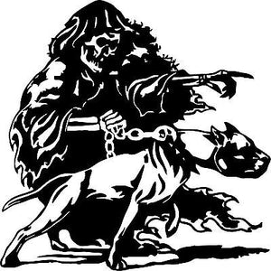 "Grim Reaper Pitbull Dog Chain Skull Car Truck Window Vinyl Decal Sticker - 12"" x 12"""