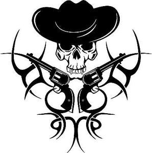 "Tribal Cowboy Skull Gun Western Rodeo Car Truck Window Vinyl Decal Sticker - 8"" Long Edge"