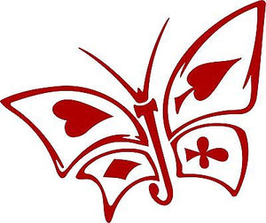 "Butterfly Cards Heart Club Diamond SpadesTruck Car Window Vinyl Decal Sticker - 11"" Long Edge"