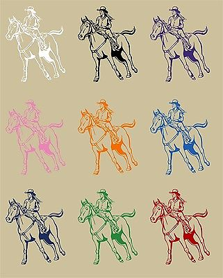"Cowgirl Horse Rodeo Girl Farm Car Truck Window Wall Laptop Vinyl Decal Sticker - 14"" long edge"