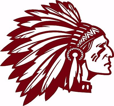 "Native American Indian Face Headdress Car Truck Window Vinyl Decal Sticker - 9"" Long Edge"