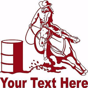 Barrel Racing Girl Rodeo Horse Custom Name Car Truck Window  Vinyl Decal Sticker - 8""