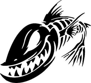 "Fish Skeleton Skull Fishing Monster Car Boat Truck Window Vinyl Decal Sticker - 11"" Long Edge"