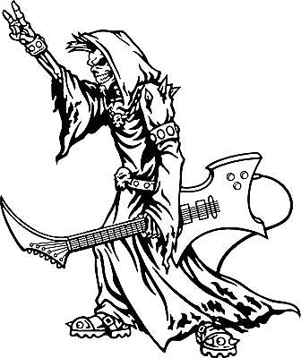 "Grim Reaper Guitar Music Rock N Roll Car Truck Window Vinyl Decal Sticker - 10"" long edge"