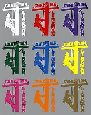 "Christian Lineman Electrician Journeyman Car Truck Window Vinyl Decal Sticker - 10"" Long Edge"