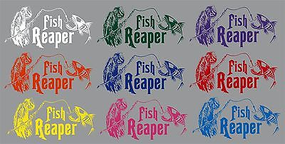 "Grim Reaper Skeleton Fish Fishing Rod Car Boat Truck Window Vinyl Decal Sticker - 13"" Long Edge"