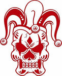 "Jester Skull Clown Joker Laptop Vinyl Decal Sticker - 7"" Long Edge"