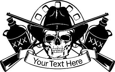 "Cowboy Skull Moonshine Gun Custom Name Text Car Truck Window Vinyl Decal Sticker - 14"" Wide"