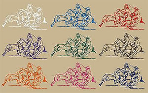 "Cowboy Team Roping Calf Western Rodeo Car Truck Window Vinyl Decal Sticker - 7"" Long Edge"