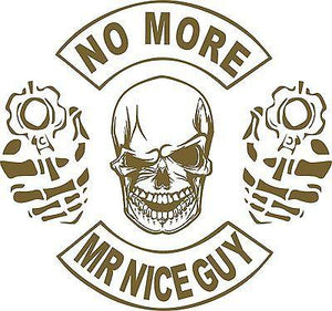 "2nd Amendment Skull Gun No More Mr Nice Guy Car Truck Window Vinyl Decal Sticker - 13"" Long Edge"