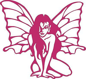 "Fairy Faerie Sitting Wings Hair Car Truck Window Laptop Vinyl Decal Sticker - 12"" long edge"