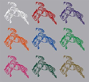 "Cowboy Tribal Bronco Horse Rodeo Western Truck Window Vinyl Decal Sticker - 6"" Long Edge"