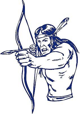 "Native American Indian Warrior Bow Hunter Truck Window Vinyl Decal Sticker - 13"" Long Edge"