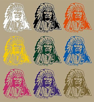 "Indian Native American Chief Western Car Truck Window Vinyl Decal Sticker - 12"" Long Edge"
