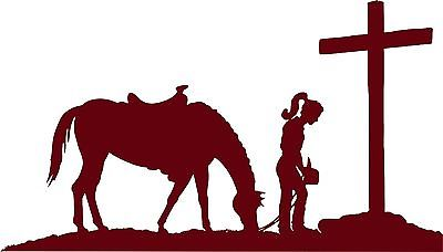 "Cowgirl Horse Praying Cross Western Rodeo Car Truck Window Vinyl Decal Sticker - 14"" long edge"
