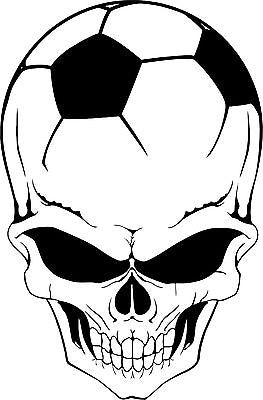 "Soccer Skull Helmet Sports Ball Head Car Truck Window Vinyl Decal Sticker - 16"" Long Edge"