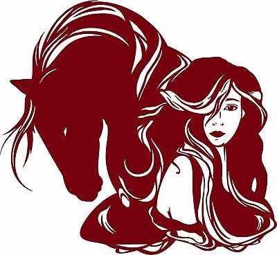 "Horse Girl Cowgirl Western Rodeo Lady Woman Car Truck Window Vinyl Decal Sticker - 14"" Long Edge"