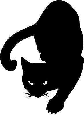 "Black Cat Animal Kitty Kitten Car Truck Window Vinyl Decal Sticker - 9"" Long Edge"