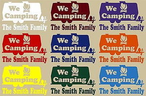 Camping RV Camper Tag Along Travel Trailer Custom Window Vinyl Decal Sticker - 11""