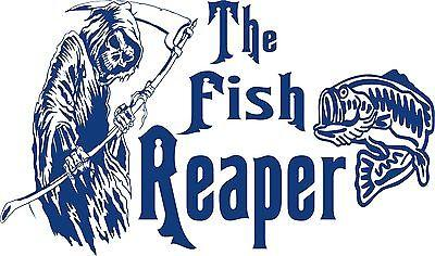 "Bass Fish Grim Reaper Fishing Boat Car Truck Window Vinyl Graphics Decal Sticker - 16"" x 9.5"""