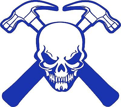 "Carpenter Skull Construction Hammer Builder Car Truck Window Vinyl Decal Sticker - 9"" Long Edge"