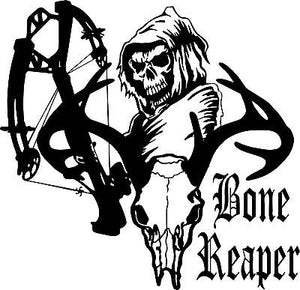 "Crossbow Grim Reaper Hunter Bow Deer Skull Car Truck Window Vinyl Decal Sticker - 13"" Long Edge"