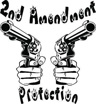 "2nd Amendment Hand Gun Protection Car Truck Window Laptop Vinyl Decal Sticker - 8"" long edge"