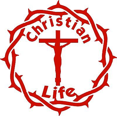 "Christian Life Jesus Christ Lord GOD Crown Car Truck Window Vinyl Decal Sticker - 9"" Long Edge"