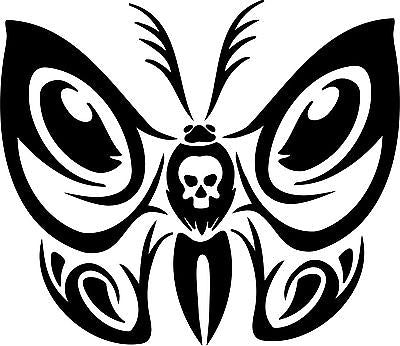 "Butterfly Tribal  Skull Truck Car Window Laptop Vinyl Decal Sticker - 9"" Long Edge"