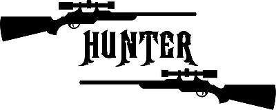"Gun Hunter Hunting Deer Buck Rifle Car Truck Window Vinyl Decal Sticker - 13"" Long Edge"