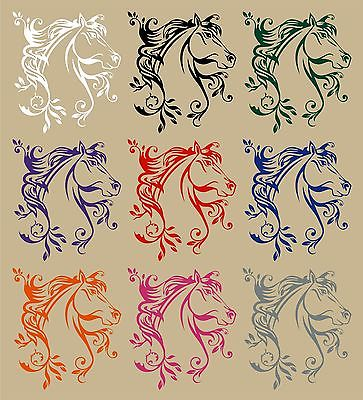 "Horse Flowers Tribal Rodeo Cowgirl Western Car Truck Window Vinyl Decal Sticker - 9"" Long Edge"