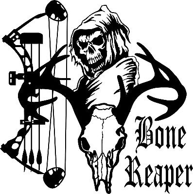 "Grim Reaper Bow Arrow Hunter Deer Skull Car Truck Window Vinyl Decal Sticker - 11"" x 11"""