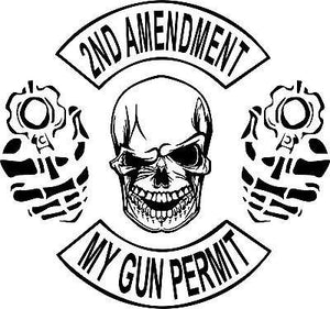 "2nd Amendment Skull Gun Permit Control Car Truck Window Vinyl Decal Sticker - 11"" Long Edge"