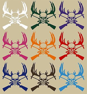 "Deer Reaper Skull Gun Hunting Car Truck Window Wall Laptop Vinyl Decal Sticker - 7"" Long Edge"