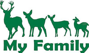 "Family Hunting Deer Buck Doe Baby Fawn Car Truck Window Vinyl Decal Sticker - 13"" Long Edge"