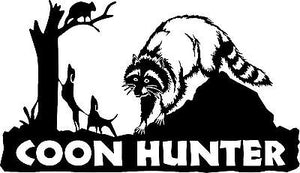 "Coon Dog Hunter Hunting Raccoon Treeing Window Laptop Vinyl Decal Sticker - 13"" Long Edge"