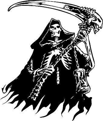 "Grim Reaper Skeleton Skull Car Tattoo Boat Truck Window Vinyl Decal Sticker - 12"" Long Edge"