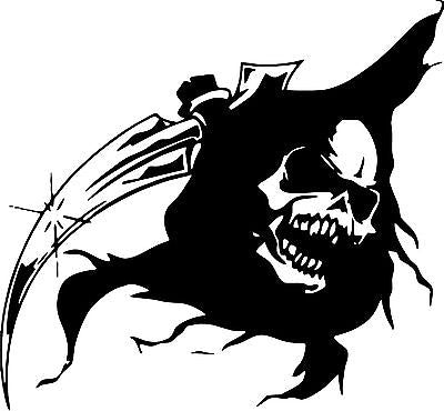 "Grim Reaper Head Skull Scythe Car Truck Window Laptop Vinyl Decal Sticker - 7"" Long Edge"