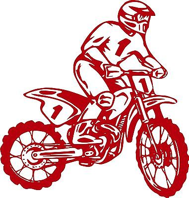 "Motorcycle Dirt Bike Motocross Car Truck Window Laptop Vinyl Decal Sticker - 12"" Long Edge"
