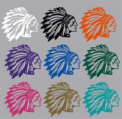 "Native American Indian Face Headdress Car Truck Window Vinyl Decal Sticker - 10"" Long Edge"